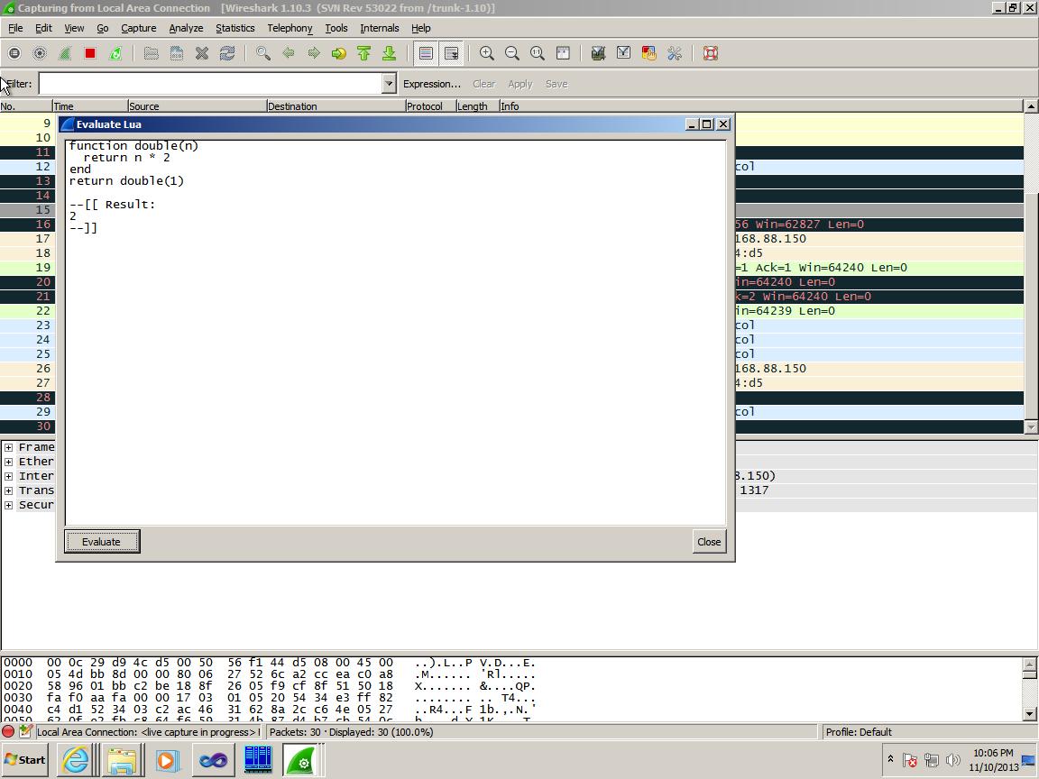 Пример выполнения Lua-скрипта в Wireshark